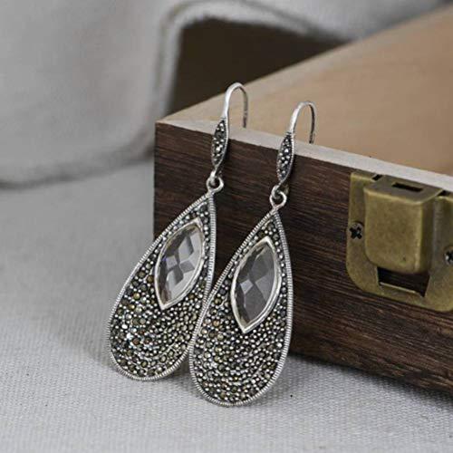 WOZUIMEI Chinese Style Earrings Eardrop S925 Silver Retro Craft Art Water Drop Earrings Women Fashion Silver Crystal EarringsAs Shown