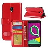 HualuBro Alcatel U5 3G Hülle, Retro Leder Brieftasche Etui Tasche Schutzhülle HandyHülle [Standfunktion] Leather Wallet Flip Hülle Cover für Alcatel U5 3G - Rot