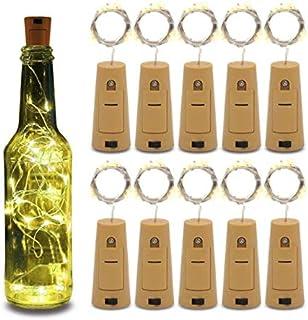 10pcs Wine Bottle Lights 20LEDs Cork Bottle Lights with Screwdriver Battery Operated Wine Cork Lights String Lights for Pa...