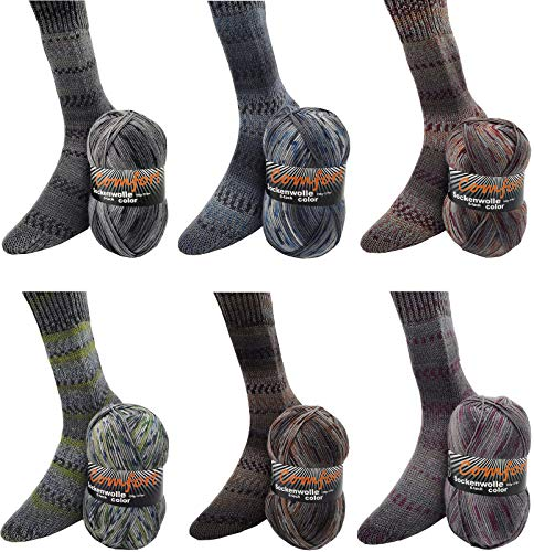 Sockenwolle Strumpfwolle Comfort Color 4-fädig - Farbset 6x100gr - 420m Lauflänge- bunter Mix dezenter Jeansfarben- Muster direkt aus dem Knaul