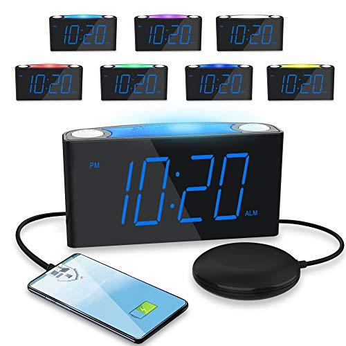 ROCAM Lauter Wecker für Tiefschläfer,Vibrationswecker mit 7 Farbigem Nachtlicht,7''LED-Anzeige&Dimme,Große Schlummertaste,2 USB-Ladegerät für Schwere Schläfer,Hörgeschädigten,Gehörlosen