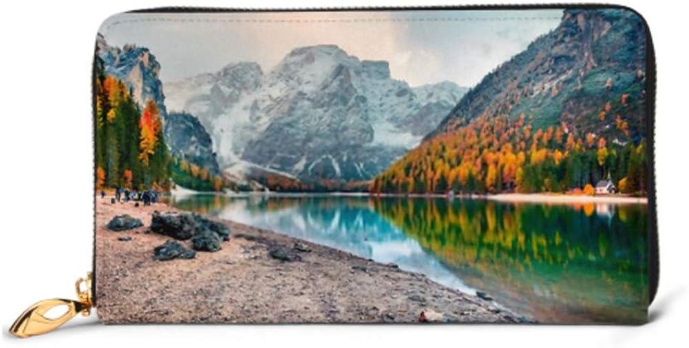 Fashion Handbag Zipper Wallet Popular Photographers Attraction Braies Lake Colorful Phone Clutch Purse Evening Clutch Blocking Leather Wallet Multi