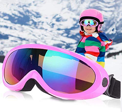 Lalaly 子供用 スキーゴーグル 6-14歳 UV400 紫外線カット ベルト調節可能 耐衝撃 防塵 防風 防雪 目が疲れにくい 登山 スキー バイク全面適用スキーゴーグル (ピンク)
