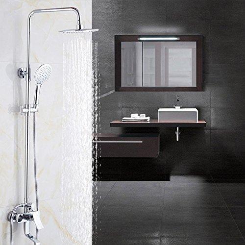 Grifo de ducha con acabado cromado galvanizado, estilo retro, para montar en la pared, de 8 pulgadas, grifo mezclador para la lluvia, grifo mezclador para baño, altura ajustable, grifo mezclador de ducha de mano 9199, plateado