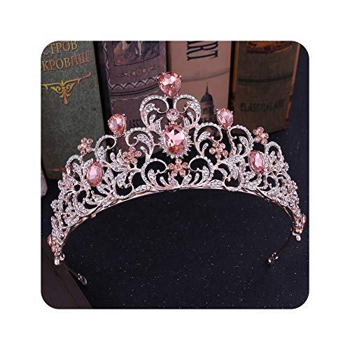 Diadem mit rosa Kristallblättern, Hochzeitsschmuck, Brautschmuck, Diadem