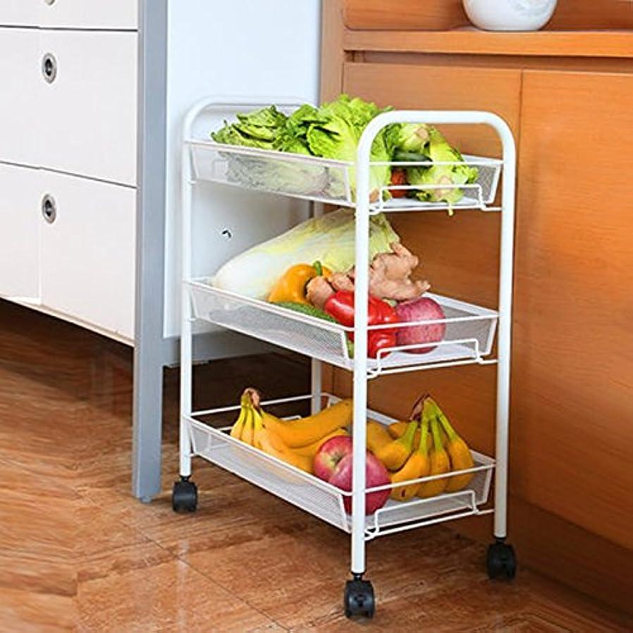 ボイコット不器用バッテリーYSDHE 欧州のミニマリストのバスルームラックキッチン台車プーリ取り外し可能な棚の棚は、保管ラックは、小さな棚を仕上げ (Color : Milk white)