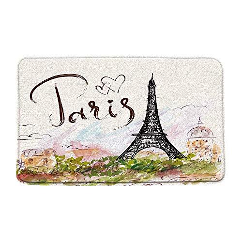Alfombra de baño de la torre Eiffel de París, acuarela paisaje de la ciudad europea alfombra de baño antideslizante piso de ducha, alfombra de baño de arte vintage de la torre Eiffel, felpudo absorben