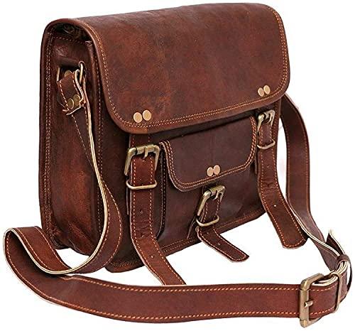 Bolso de mensajero de cuero genuino hecho a mano 11 pulgadas Ideas de regalo Hombres Mujeres Venta (marrón genuino)