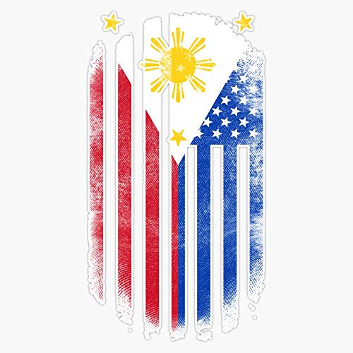 MAGNET Filipino American Flag Philippines and USA Design Vinyl Magnet Bumper Magnetic Sticker 5'