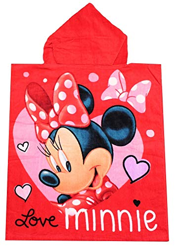 Minnie Mouse Poncho de baño para niños con Capucha Love Minnie 50 x 115 cm, 100% algodón, Oeko Tex Standard 100