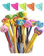 Kaimeilai Potloden voor kinderen, 40 stuks met gum, universele houten potloden voor kinderen, HB stiftenset met 5 stuks linkshandige potlood, handgrepen voor verjaardag, cadeau, kinderen