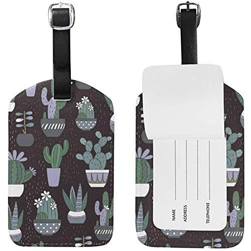 Kaktus Regen Pflanze Leder Gepäck Kofferanhänger ID-Label für die Reise (2Pcs)