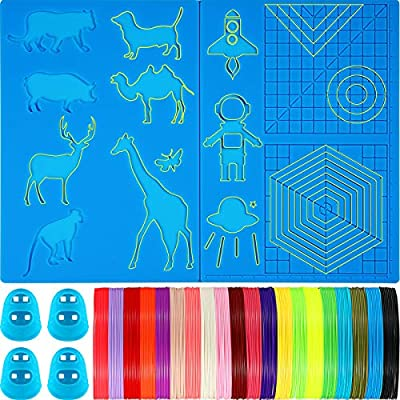 3D Printing Pen Silicone Design Mat and 20 Colors Printer Filament with 4 Finger Protectors, Large 3D Pen Mat and 1.75 mm PLA Filament, 10 Feet for Each Color, for 3D Printer Pen