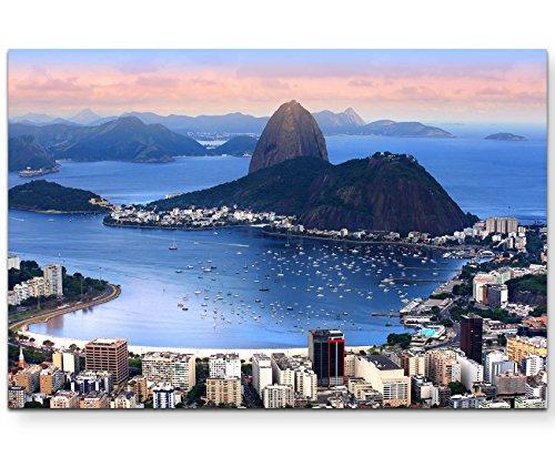 Paul Sinus Art Leinwandbilder | Bilder Leinwand 120x80cm Rio de Janeiro´s Skyline am Abend