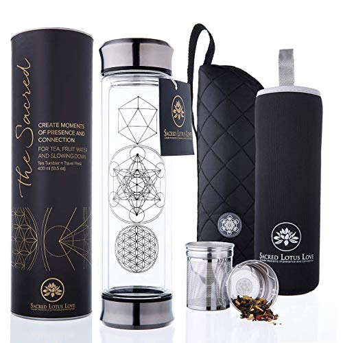 The Sacred Tea Tumbler with Infuser & Strainer Combo - BPA Free Glass Travel Mug with Stainless Steel Filter. Leakproof Tea Bottle for Loose Leaf Tea and Fruit Water 14 Ounce