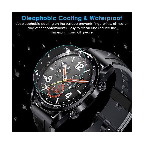 CAVN Compatible con Huawei Watch GT Protector de Pantalla, [4 Packs] Impermeable Vidrio Templado Protector de Pantalla… 7