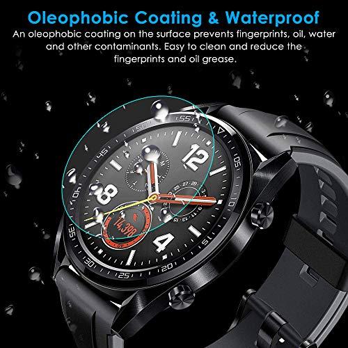 CAVN Panzerglas Kompatibel mit Huawei Watch GT Sport /Classic /Active Schutzfolie [4-Stück], (Nicht für GT 2) Wasserdichtes gehärtetes Glas Anti-Scratch Anti-Bubble Displayschutzfolie Schutz für GT - 4
