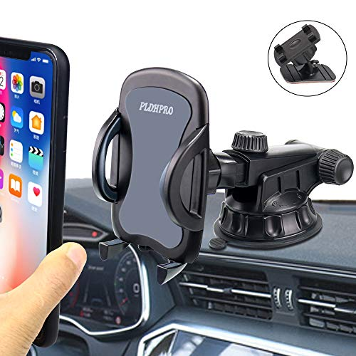 Car Phone Mount, PLDHPRO Cell Phone Holder for Car Windshield/Dash/Dashboard,Stick On Car 3-in-1 Universal Mount,for iPhone Samsung Sony Google All 4