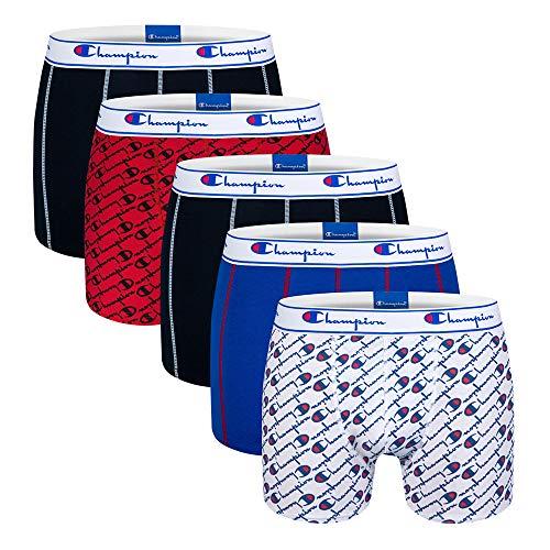 Champion Herren Boxer Coton Mix X5 Boxershorts, Mehrfarbig (Blanc Logo Bleu/Bleu/Rouge Imprime/Noir/Noir 9ne), Large (5er Pack)