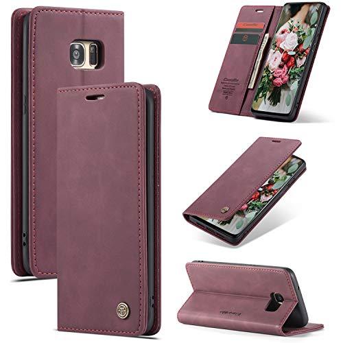 FMPC Cover Compatibile Samsung Galaxy S7 Edge, Libretto in Pelle di qualità Superiore con Slot Custodia Protettiva Magnetica Flip Cover Bumper Portafoglio Fondina Antiurto Case, Vino Rosso
