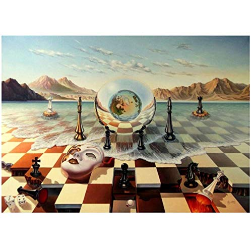 SXXRZA Leinwand Wandkunst 40x55cm kein Rahmen Salvador Dali Surrealismus Schachmaske auf Sea Wall Art Zusammenfassung seltsame Poster Bild Home Decor