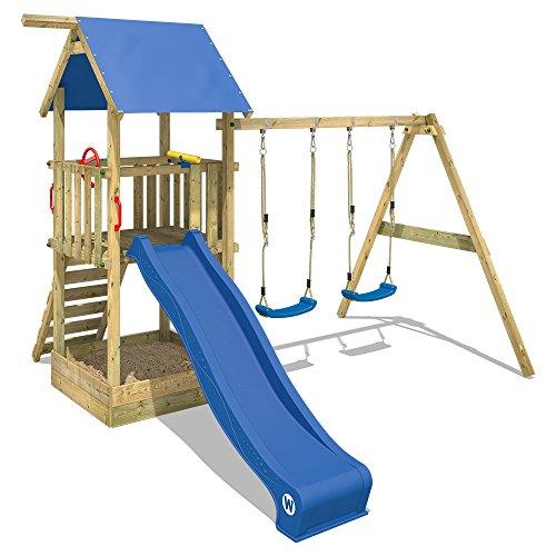 WICKEY Spielturm Klettergerüst Smart Echo mit Schaukel & blauer Rutsche, Kletterturm mit Sandkasten, Leiter & Spiel-Zubehör