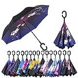 Parapluie réversibleà double couche AmaGo, avec une poignée en C; pliable sur l'envers et permet de se libérer les mains; avec un sac de transport pour faciliter le transport Rose Chinensis L
