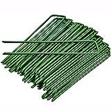 40 pinzas de jardín estacas grapas de jardinería para asegurar el césped anclajes en forma de U, ideales para control de malas hierbas, tejido de membrana de 15 cm