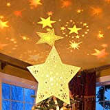 MAOYUE Christmas Tree Topper Lighted with LED Star Projector Lights, Lighted Star Tree Topper for Christmas Tree Decorations, Golden