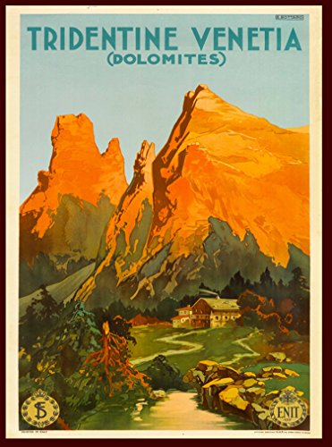 Tridentine Venetia Dolomites Mountains Italy Italian Vintage European Travel advertisement Art Poster Print. Poster measures 10 x 13.5 inches