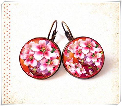 Elf House Pendientes Pendientes Pendientes de aro con diseño de flor naranja, rosa, japonés, asiáticos