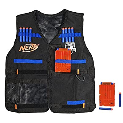 NERF Official Tactical Vest N-Strike Elite Series Includes 2 Six-Dart Clips and 12 Official Elite Darts for Kids, Teens, and Adults (Amazon Exclusive)