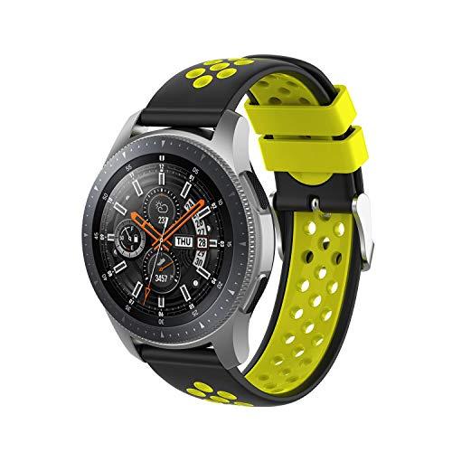 INF Pulsera Compatible con Samsung Gear S3 Frontier/Classic, Pulsera de Reloj Ajustable 147-240 mm, Negro/Amarillo