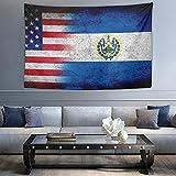 NiYoung Bohemian Wandbehang Hippie Hippie Tapisserie, Amerikanische USA-Flagge EL Salvador Grunge Flagge 3D Druck Indische Mehrzweck-Dekor Wandteppich, Queen Tapisserie - Bettwäsche Tapisserie