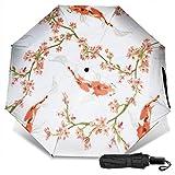 Rosa Cherry Blossom Carpcute Manuale Vinile Ombrello triplo Protezione solare Protezione UV Ombrello antivento Ombrello da viaggio