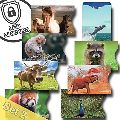 8 RFID Blocking Sleeves, Credit Card Protector, Anti Theft Credit Card Holder, with Horse, Elephant, Monkey, Dolphin, Buffalo, Peacock, Red Panda and Raccoon Prints
