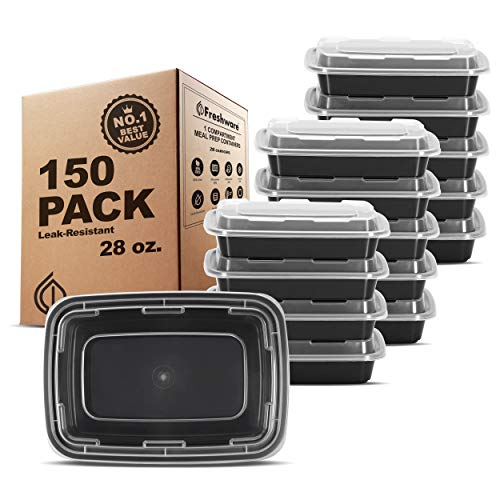 Freshware Meal Prep Containers [150 Pack] 1 Compartment Food Storage Containers with Lids, Bento Box, BPA Free, Stackable, Microwave/Dishwasher/Freezer Safe (28 oz)