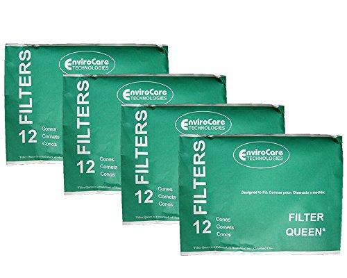 EnviroCare Conos de filtro de vacío de repuesto hechos para aspiradoras Filter Queen 48 conos