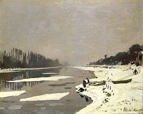 Claude Monet - Témpanos De Hielo En El Sena En Bougival 1867-1868 Reproducción Cuadro sobre Lienzo Enrollado 120X95 cm - Paisajes Pinturas Impresións Decoración Muro