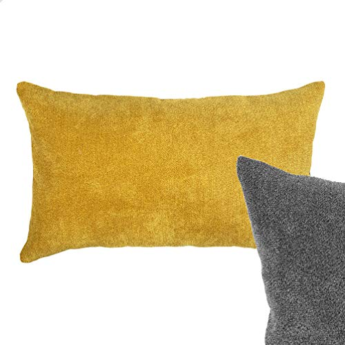 Cojín tejido paño Amarillo Mostaza y gris