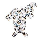 Newborn Unisex Baby Girls BoysSleep Bag Cartoon Animal Printed Long Sleeve Blanket+Hat 2Pcs Set (Long Sleeve Lion, 0-6 Months)
