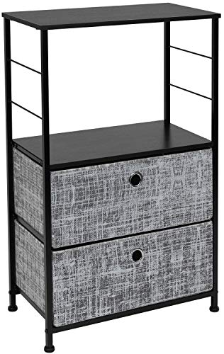 Sorbus Nightstand 2-Drawer Shelf Storage - Bedside Furniture & Accent End Table Chest for Home, Bedroom, Office, College Dorm, Steel Frame, Wood Top, Easy Pull Fabric Bins (Gray/Black)
