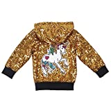 ANATA Girl Fall Sequin Jacket Kids Zipper Hoodie Jacket Coat Long Sleeve Casual Jacket Toddler Girls Fall Outwear Clothes Gold Black Unicorn 03 Size 5T