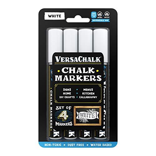 VersaChalk White Chalkboard Chalk Markers - Wet Erase Dustless Chalk Ink Paint Marker for Blackboard, Dry Erase White Board, Chalkboard Sign (BOLD 5mm, 4/SET)