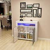 Commode de Eclairage LED Meuble de Rangement avec 4 Compartiments de Stockage + 2 Portes surSalon, Chambre, 107 x 35 x 97 cm (Gris+Blanc)