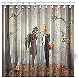 Wasserdichter & schimmelresistenter Duschvorhang Märchen Rabe & Fuchs in einem dunklen Wald Blick auf die Uhr mit Kaninchen Eulenbär Herbst Vorhang 180x180cm