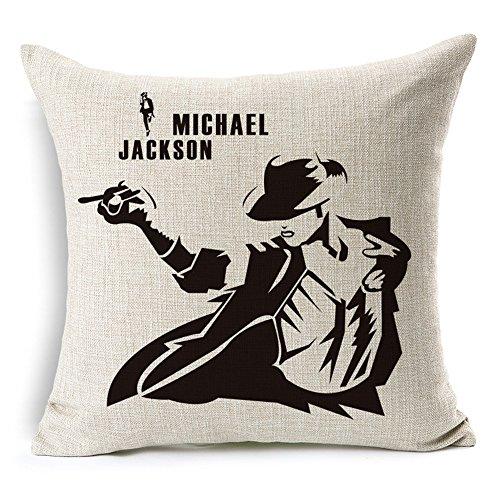 Jameswish - Funda de cojín de Lino Resistente con diseño de Michael Jackson Bailando, decoración de Pasarela de la Luna, 45,7 x 45,7 cm (sin Relleno)