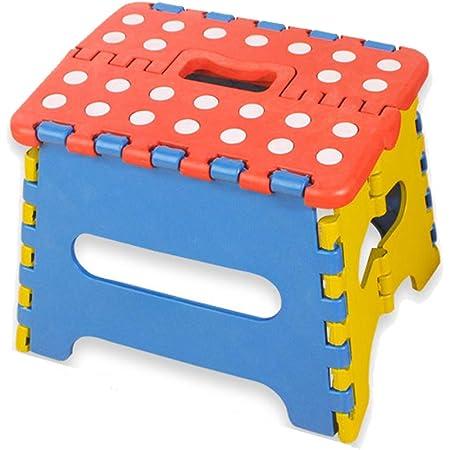 Folding Passo sgabello pieghevole di plastica tratteggiata Stool apre facile con un flip Passo Sgabello abbastanza sicuro per i bambini adulti a caso a colori
