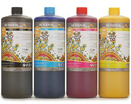 4x 1 Liter Sublimationstinte für Textildruck, Transferdruck, Sublimation Ink kompatibel für Epson, Brother, Roland, Mimaki, Mutoh, CMYK