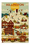 Killington, Vermont - Ski Resort - Geometric 500 Pieces Jigsaw Puzzle, Puzzles for Adults and Kids, Jigsaw Puzzle Decompressing Toys